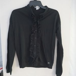LACOSTE Ruffle Cardigan Black Button Front Logo